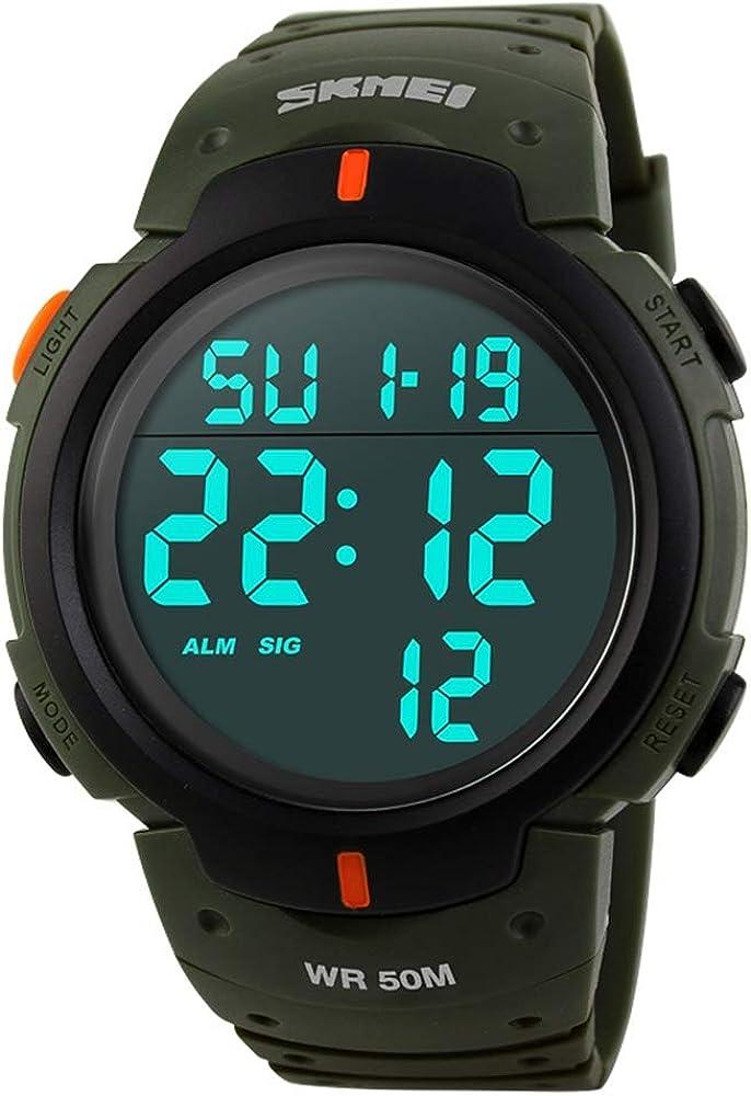 FeiWen Hombre Digitales LED Deportivo Relojes de Pulsera de Hombre Multifuncional Electrónica 50M Impermeable Outdoor Militar Reloj Plástico Bisel con Goma Correa