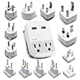 International Plug Adapter Kit, Ceptics World Safest Grounded 13 Adaptor Set Dual USB Ports - Travel Anywhere - Business Use - Perfect for Laptops, Cell Phones, Chargers - Surge Protection