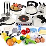 Play Kitchen Set 35pcs with ElECTRONIC Induction Cooktop,Pretend Play Food Cutting, Pots Pans, Cooking Utensils, Kitchen Accessories Cooware Playset Gift for Kids Boy Girl Age 2 3 4 5 Year Old