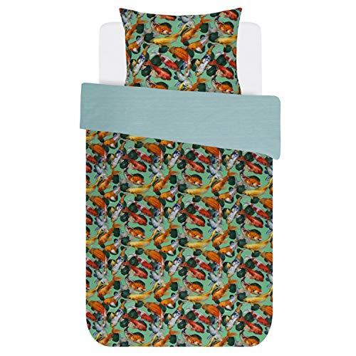 Covers & Co Parure de lit Riva en coton renforcé vert avec motif poissons et étang 135 x 200 cm