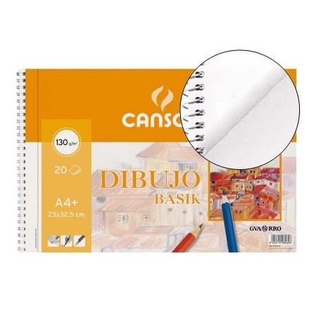 Canson Dibujo Basik Taladro, Álbum Espiral Microperforado, A4+ (23x32,5 cm) 20 Hojas 130g
