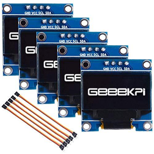 GeeekPi 5Pack 0.96 Pulgadas OLED Módulo 12864 128x64 Blanco SSD1306 Controlador IIC Serie Módulo de Placa de Pantalla para Arduino, Raspberry Pi, Beagle Bone Black