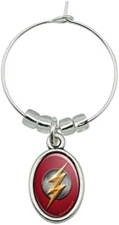 Justice League Movie Flash Logo Wine Glass Oval Charm Drink Marker