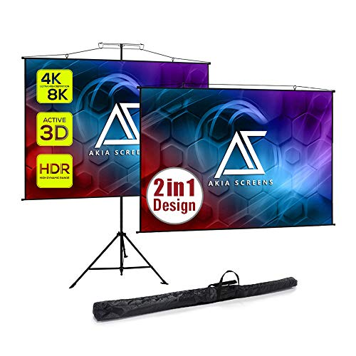 Akia Screens 2 in 1 110 inch Portable Pull Down Projector Screen with Tripod Stand 4:3 16:9 8K 4K HD Black Wall Mount Projection Screen with Bag for Indoor Outdoor Movie Home Theater AK-T110VLITE