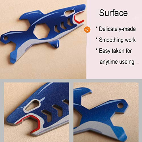 Product Image 2: Keychain Multi-Tool EDC Mini-Tool 7-in-1 Key Tool (Bottle Opener Screw Driver 5.5/7/8/10mm Wrench) Stainless Steel (key chain size,shark)