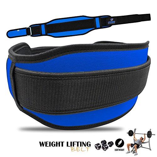 Rebo sollevamento pesi in neoprene a doppia cinghia posteriore supporto lombare fitness bodybuilding palestra blu/nero, Blue / Black, XL