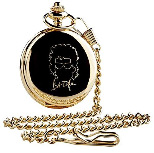 Gesigneerd Bob Dylan gouden zakhorloge en ketting luxe 24 karaat verguld in houten geschenkdoos kast verzamelaars cadeau