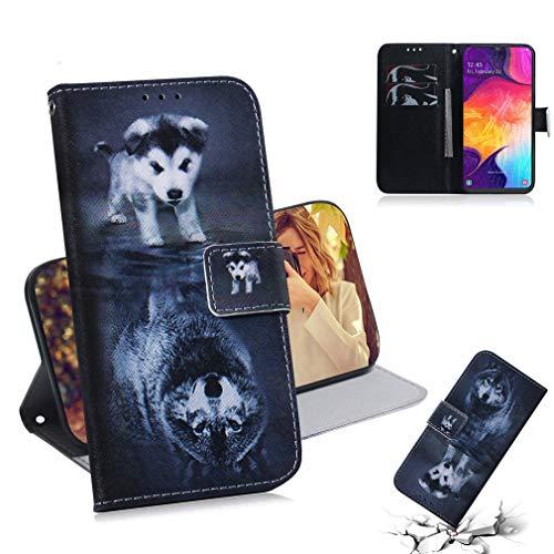 SZHTSWU Hülle für Samsung Galaxy A50 SM-A505 (6,4 Zoll),Magnetverschluss Kunstleder PU Leder Tasche Brieftasche Flip Wallet Case Schutzhülle mit Kartenfächern,Wolf & H&