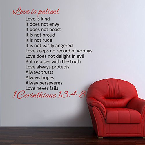 Bible Verse Wall Quote Art Love is Patient Love is Kind Love Wall Words Wedding Gift Decal C(Large,Words 1:Tomato Red;Words 2:Black)