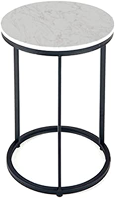 FEI Teng European Side Table Coffee Table Table Home and Office Small Round Table Marble, Black/Wrought Iron Gold 40x40x60 cm (Color : Black)