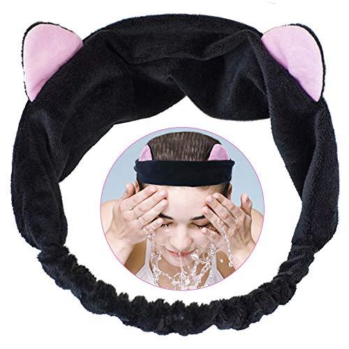 Haarband Katzenohren Haarbänder Damen, Haarreifen mit Ohren with Hochelastisches Komfort-Stirnband, Mädchen Makeup Haarband Schminken Handtuch Stirnband for Yoga Gesicht Waschen Oder Make-up (Schwarz)
