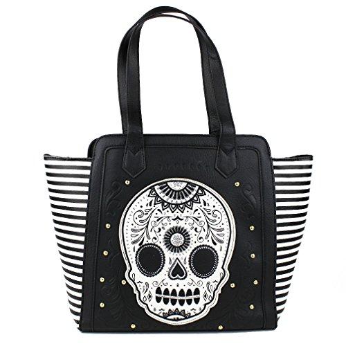 Loungefly Damen Gothic Schultertasche Mexikanischer Totenkopf - Black, White & Gold Sugar Skull Shopper Tasche gestreift