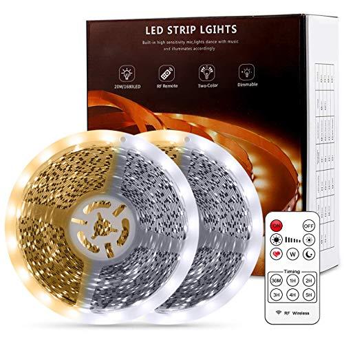 Tiras LED, Kintty 20M IR Control Remoto Bicolor Luces LED, 1680 LEDs Luz Fría Ajustable (6000K) Luz Cálida (3000K), 220V Kits Flexible para Armario, Dormitorio, Muebles, Cocina,Navidad o Fiesta