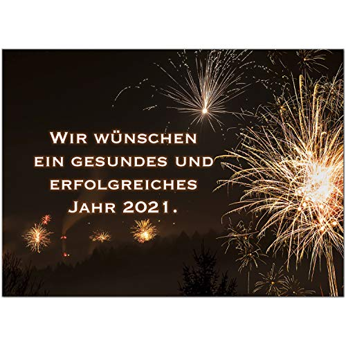 15 x Neujahrs-Karten (Feuerwerk) im Postkarten Format mit Umschlag/Weihnachten/Sylvester / 2021 / Neues Jahr/Silvester