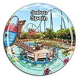 Weekino Port Aventura Park Salou España Imán de Nevera Cristal 3D Cristal Ciudad Turista Recuerdo de Viaje Colección Regalo Fuerte Refrigerador Etiqueta