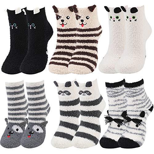 ZOYLINK 6 Paar Damen Kuschelsocken Baumwollsocken lustige süße Cartoon Tier Socken Katze & H& coole Socken Weihnachtsgeschenke Tiersocken Kinder Socken Katze