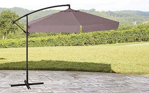 GARDENIA D300 Ombrellone da Giardino Ø mt. 3X3 Decentrato in Acciaio da Esterno Arredo Piscina, Gazebo, Terrazze, Bar, Hotel, Balconi, Palo Antracite-Telo Beige Scuro