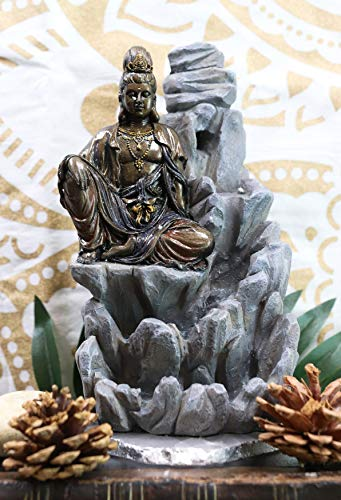 Ebros Buddhism Bodhisattva Kuan Yin Meditating On Rocky Mountain Incense Burner Statue 7.5' Tall Eastern Enlightenment Backflow Cone Guanyin Buddha Incense Holder