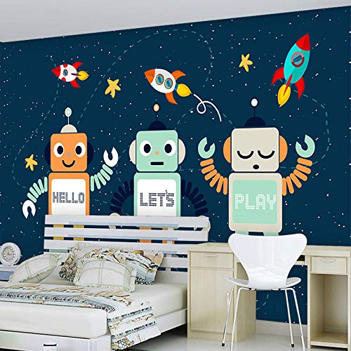 Mural Non Woven 3D Effect Wallpaper 300 * 210Cm Modern Creative Cartoon Cute Robot Self-Adhesive 3D Wall Stickers for Girls Room Wall Decal Poster Picture Holiday Gift Decoration