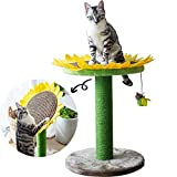 Catry Cat Tree Bed with Scratching Post with Sisal Covered Climbing Activity Tower, Natural Jute Fiber 2-in-1 Scratching Post and Bed, Best Holiday Idea Gift… (Sunflower 23' Green and Yellow)