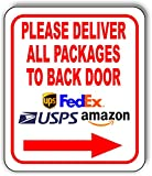 Please Deliver All Packages to Back Door Right Aluminum Composite Outdoor Sign 8.5' x10'