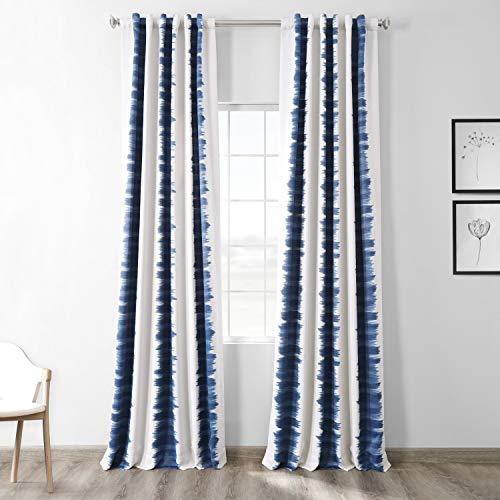 HPD Half Price Drapes BOCH-KC101A-96 Blackout Room Darkening Curtain (1 Panel), 50 X 96, Flambe Blue