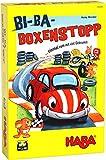 HABA 305260 – Bi-Ba Box-Stopp,Cubo con Reglas Sencillas para niños a Partir de 3 años; Juego de Mesa con plaquetas y Coches de Madera como Figuras de Juego.