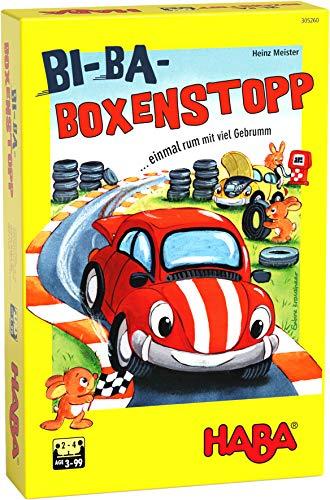 HABA 305260 - Bi-Ba-Boxenstopp,Würfelsiel mit einfachen Regeln für Kinder ab 3 Jahren; Brettspiel mit Spielplättchen und Holzautos als Spielfiguren