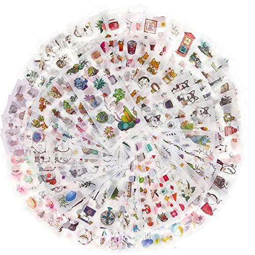90 Blatt Scrapbooking Sticker Aufkleber in verschiedene Muster Pflanzen Aufkleber Blumen Sticker Katzen Tiere Scrapbook für Notizbuch Tagebuch Fotoalbum Kalender Scrapbook Fotoalbum DIY Dekoration