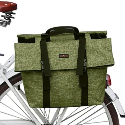 TOURBON Nylon doppelte Fahrradtasche Schultertaschen Rear Rack Stamm Motorrad Tail Sitz Fahrradtasche