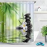 LB Duschvorhang Zen Spa 120x175cm Weißer Orchideen-grüner Bambus Bad Gardinen mit Vorhanghaken Polyester Wasserdicht Anti Schimmel Badezimmer Vorhang
