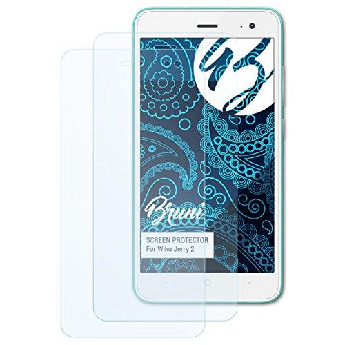 Bruni Schutzfolie kompatibel mit Wiko Jerry 2 Folie, glasklare Bildschirmschutzfolie (2X)