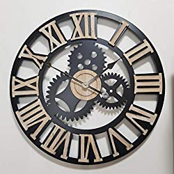 Infinity Time Overszied Large Retro Industrial Steampunk Cog Noiseless Silent Metal Decor Gear Wall Clock with Raised Natural Wood 3D Roman Numberals (Matt Black,24Inch)