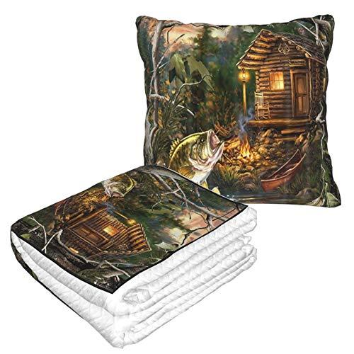 XINGAKA Manta de Viaje súper Suave,Farmhouse Forest Cabin y BigMouth Bass,Manta Plegable,Almohada cómoda