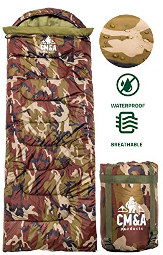 Camouflage Sleeping Bag Indoor & Outdoor Use - Compact for Camping, Hiking, Backpacking, Traveling - Great for Kids, Boys, Teens & Adults - 4 Season Waterproof Camo Warm Military Sleeping Bag