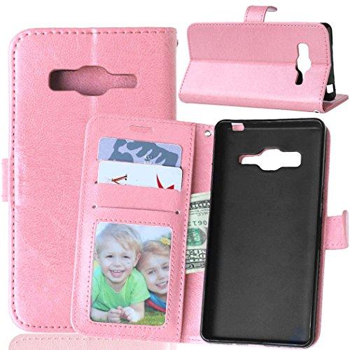 Fatcatparadise Kompatibel mit Samsung Galaxy Z3 Hülle + Bildschirmschutz, Flip Wallet Hülle mit Kartenhalter & Magnetverschluss Halterung PU Leder Hülle handyhülle (Rosa)