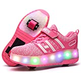 Unisex Enfants LED Doubles roulettes Bouton Poussoir Ajustable Inline Skates Baskets Chaussures de Multisports Outdoor Course Sneakers