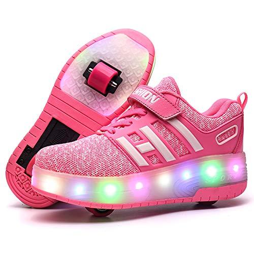 Kimily Unisex Jungen Mädchen Sneaker LED/Skateboard Schuhe LED Licht mit Doppelt Rollen,Licht 7 Farbe Bunt,Drucktaste Einstellbare, Rollerblades Inline Skates Outdoor Sport Gymnastik Running Schuhe