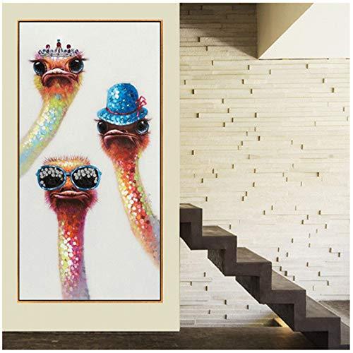 ZHANGPENGBOFBH Druck auf leinwand Handgemalte Moderne Tier Vogel Malerei Strauß wandbild für Wohnzimmer einzigartiges Geschenk -60x90 cm Kein Rahmen