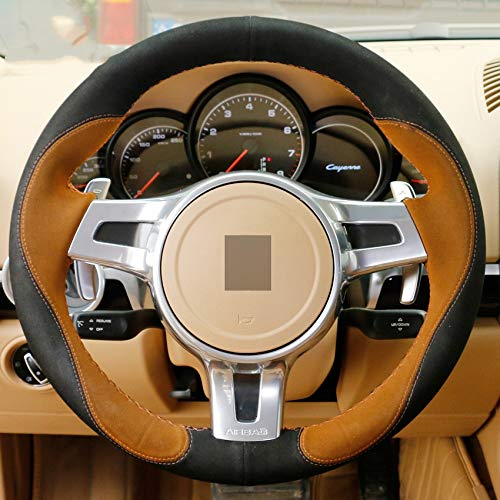 HCDSWSN Brown Black DIY Handgenähte Lenkradabdeckung für Porsche Cayenne Panamera 2012 2013