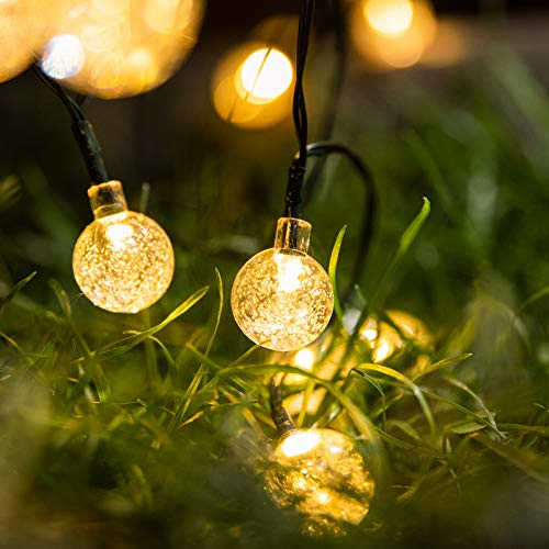 Solar Lights Outdoor Garden, 12m/40ft 88LEDs Globe Winter Outdoor String Lights with 8 Modes Remote Waterproof Powered by Solar and Battery Solar Fairy Lights for Christmas Patio, Garden(Warm White)