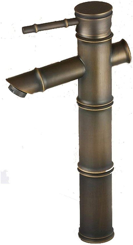JFFFFWI Antiker Hahn-Kupfer-heie und kalte einzelne Loch-Bambusbadezimmer-Waschbecken-ffnung 32MM bis 40MM kann angebracht Werden
