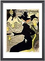 ポスター ロートレック 『ディヴァン・ジャポネ』木製黒フレーム付 A3サイズ※壁掛け【返金保証有 上質】 [インテリア 壁紙用] 絵画 アート 壁紙ポスター