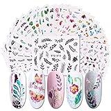 DNHCLL 29 Sheets Nail Stickers Water Transfer Nail Art Decals for Women Girl Fingernail Toenail Tattoo Decoration Popular Elements of Nature Plants Leaf Car Rainbow Sailboat Pattern Nail Art Supplies