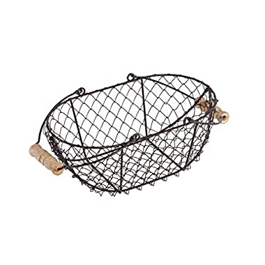 Trademark Innovations 10  Oval Wire Basket with Wooden Handles - Vintage Style - By