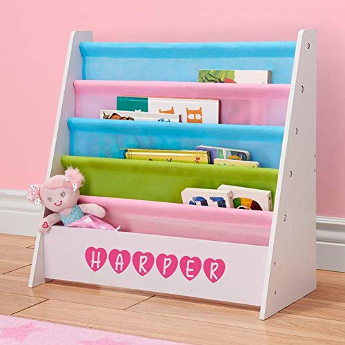 DIBSIES Personalized Kids Bookshelf (White with Pastel Fabric)