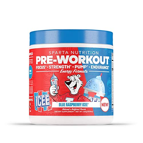 Sparta Nutrition Pre-Workout Focus Strength Pump Endurance Retro Candy Flavors ICEE and Smarties (Blue Raspberry ICEE)