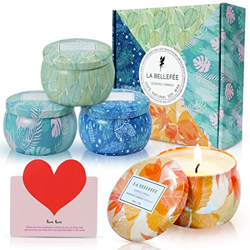 LA BELLEFÉE Coffret Bougies Parfumées Les Quatre Saisons Bougie à la Cire de Soja Naturelle Idée Cadeau pour...