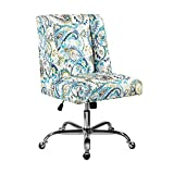 Linon Blue Paisley Upholstered Swivel Clayton Office Chair