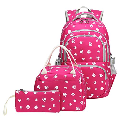 JiaYou School Backpack Sets 3pcs Dog Paw Prints Daypack For Teens Girls Primary School Students(Rose 3PCS,20L)